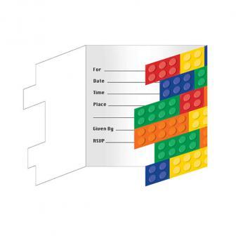 """Einladungskarten """"Bunte Bausteine"""" mit Umschlag 8er Pack"""