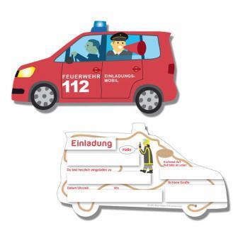 """Einladungskarten """"Spannende Feuerwehr"""" 6er Pack"""