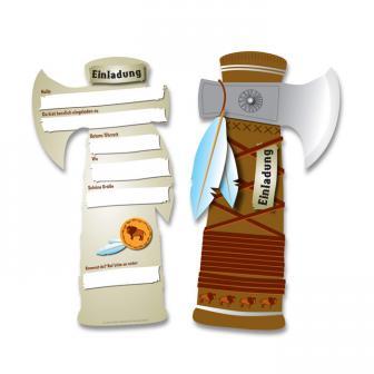 """Einladungskarten """"Indianer-Tomahawk"""" 6er Pack"""
