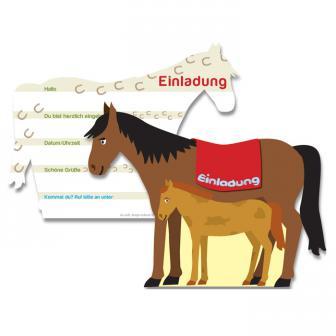 """Einladungskarten Pferd """"Auf dem Bauernhof"""" 6er Pack"""