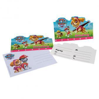 """Einladungskarten """"Pink Paw Patrol"""" mit Umschlag 6er Pack"""