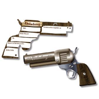 """Einladungskarten """"Pistole"""" 6er Pack"""