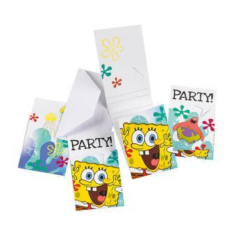 """Einladungskarten """"Spongebob Schwammkopf"""" 6er Pack"""