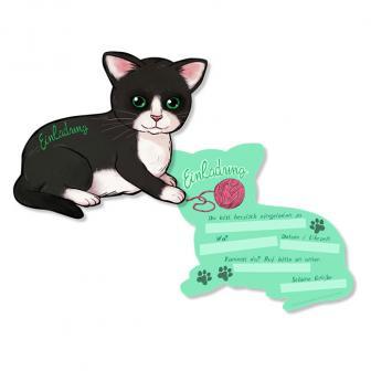 "Einladungskarten ""Süßes Kätzchen"" 6er Pack"