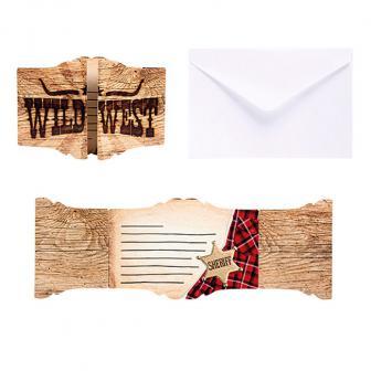 """Einladungskarten """"Wild Cowboy"""" mit Umschlag 6er Pack"""
