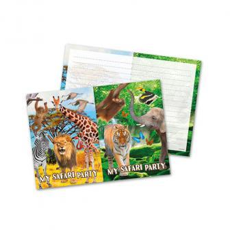 """Einladungskarten """"Wildes Safarileben"""" 8er Pack"""