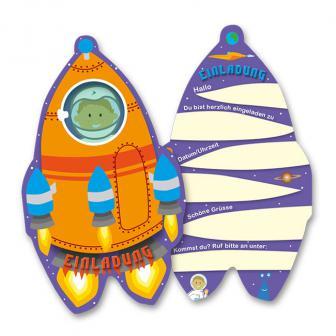 """Einladungskarten """"Wunderbares Weltraum-Team"""" 6er Pack"""