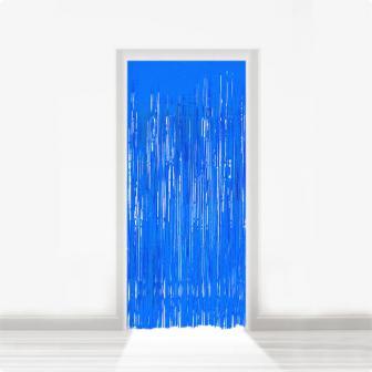Fransen-Türvorhang aus Folie 2 m-blau