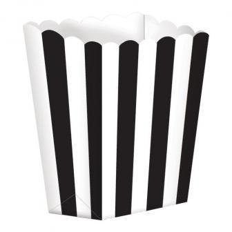 Gestreifte Snack-Boxen 5er Pack-schwarz