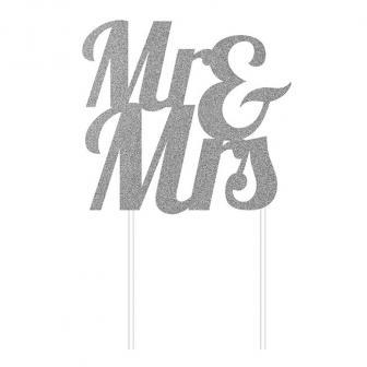 """Glimmer-Kuchendeko """"Mr & Mrs""""-silber"""