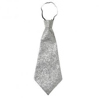 Glitzer-Krawatte 40 cm-silber