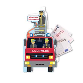 """Glückwunschkarte mit Geldfach """"Tapfere Feuerwehr"""""""