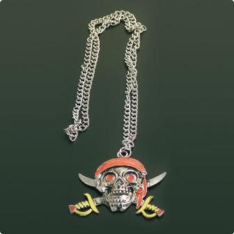 Halskette schaurig-schöner Piratenschädel 10 cm