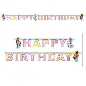 "Happy-Birthday Girlande ""Charming Horses"" 180 cm"