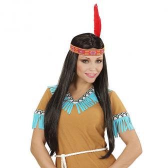 Indianer-Perücke mit Stirnband und Feder