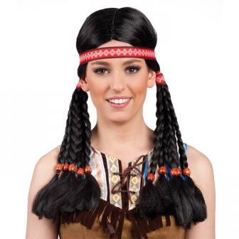 Indianer-Perücke mit Stirnband und Zöpfen