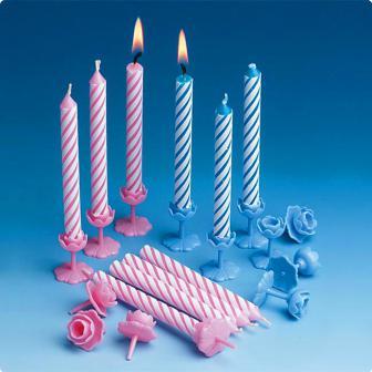 Klassische Geburtstagskerzen mit Halterung 12er Pack