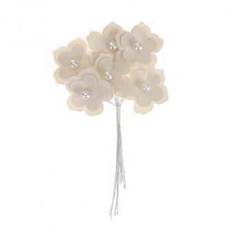 Kleine Blüten aus Kunstleder 6er Pack