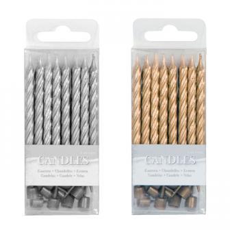 Kleine, metallische Kerzen mit Halter 16er Pack