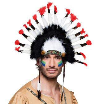 Kopfschmuck Mohawk-Indianer 34 cm