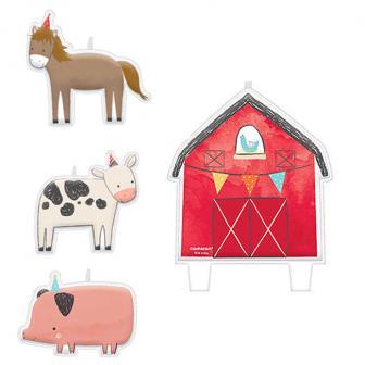 """Kuchenkerzen """"Niedliche Farm-Tiere"""" 4er Pack"""