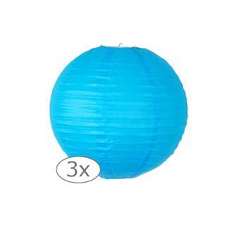 Einfarbige Lampions 3er Pack-25-cm-blau