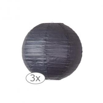 Einfarbige Lampions 3er Pack-25-cm-schwarz