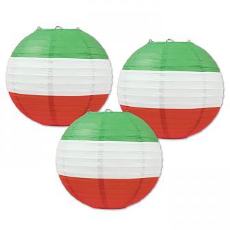 "Lampions ""Grün-Weiß-Rot"" 24 cm 3er Pack"
