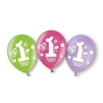 """Luftballons """"1. Geburtstag - Schmetterling"""" 6er Pack"""