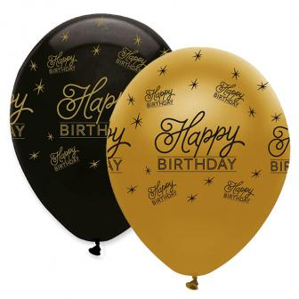"Luftballons ""Black & Gold"" - Happy Birthday 6er Pack"