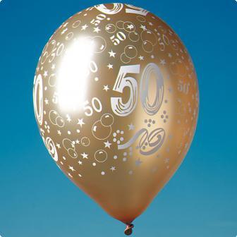 """Goldene Luftballons """"50"""" 5er Pack"""