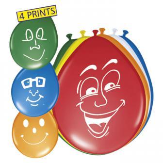 Luftballons mit lachenden Gesichtern 8er Pack
