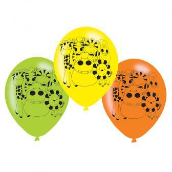 """Luftballons """"Niedlicher Dschungel"""" 6er Pack"""