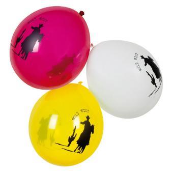 Luftballons Wild West rot-gelb-weiß 6er Pack