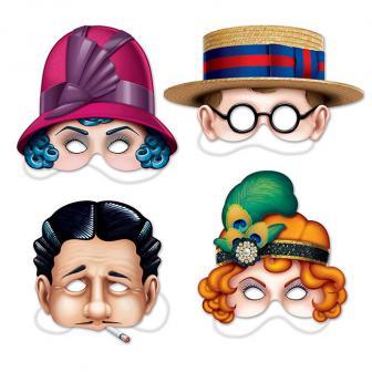 """Masken """"20er Jahre"""" 4-tlg."""
