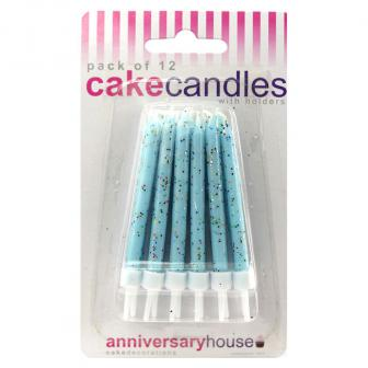 Mini Geburtstagskerzen hellblau-glitzer 12er Pack