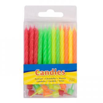 """Mini-Kerzen """"Neonfarben"""" mit Halterung 24er Pack"""