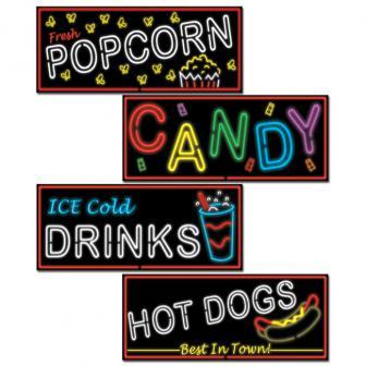 Neon-Schilder Kino-Snacks aus Pappe 4-tlg. 53 cm