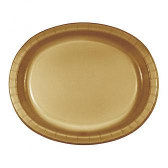 """Ovale Pappteller """"Gaumenfreuden"""" 8er Pack-gold"""