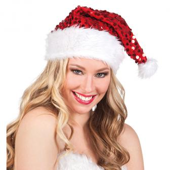 Paillettenbesetzte Weihnachtsmütze 37 cm
