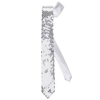 Pailletten-Krawatte-silber