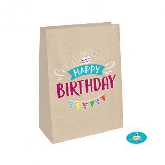 """Papier-Geschenktütchen """"My Birthday Party"""" mit Stickern 8-tlg."""