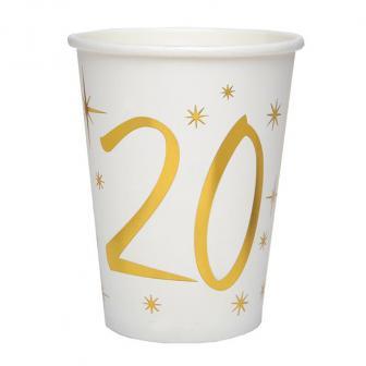 "Pappbecher 20. Geburtstag ""Golden Times"" 10er Pack"