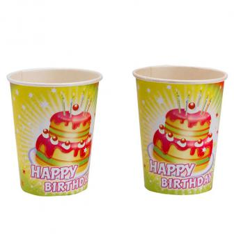 "Pappbecher ""Happy Birthday Kuchen"" 8er Pack"