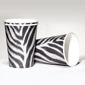 """Pappbecher """"Zebra-Look"""" 10er Pack"""