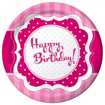 "Pappteller ""Pretty Pink"" Happy Birthday! 8er Pack"