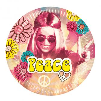 "Pappteller ""Bunte Hippie-Power"" 6er Pack"