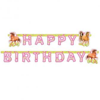 """Party-Girlande Happy Birthday """"Pferdeland"""" 190 cm"""
