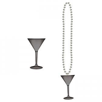 Perlenkette mit Mini-Martini-Glas 91 cm