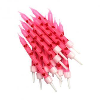 """Pinke Geburtstagskerzen """"Rote Herzen"""" 12er Pack"""